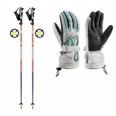 Ski poles Leki SuperHero Trigger S + gloves Leki Stripes Gore Tex
